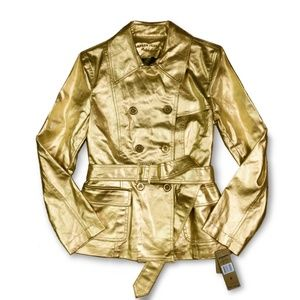 Ralph Lauren Metallic Gold Double Breasted Trench